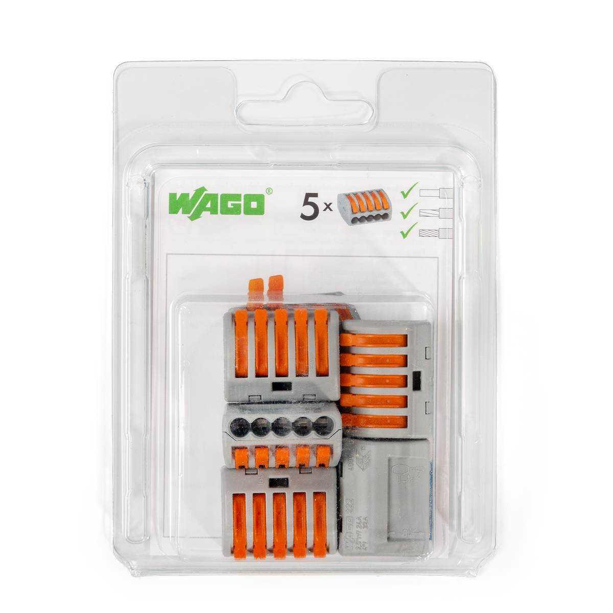 Мини-упаковка рычажковых универсальных клемм «Wago» в блистерах (без контактной пасты)
